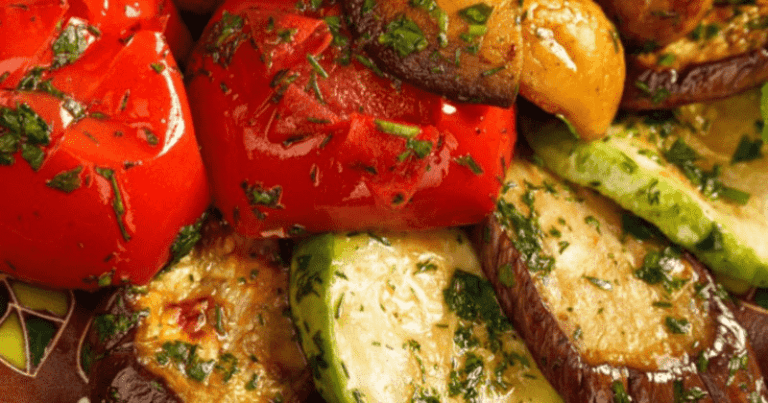 Овощи запечённые в маринаде - дешёвый гарнир для всей семьи