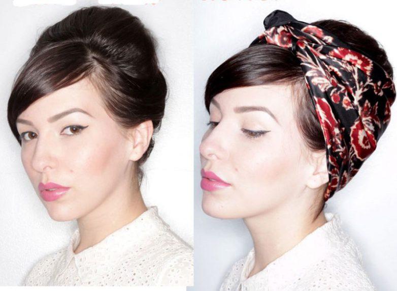 Как элегантно подвязать волосы платком