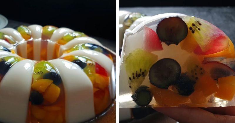 Свежий и летний десерт: красивый фруктовый торт-желе + видео