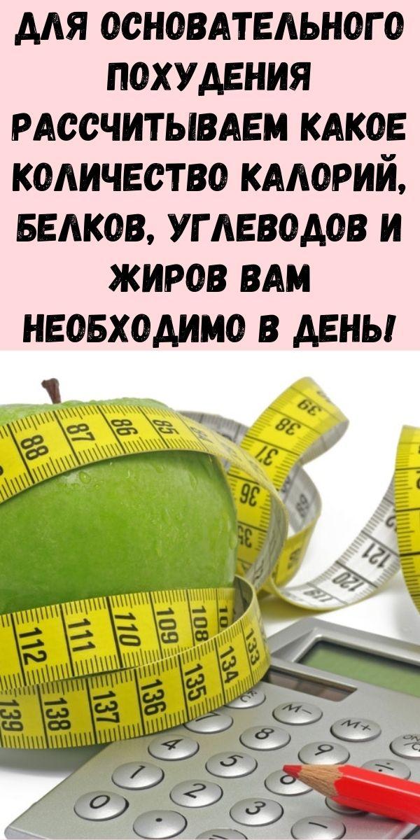 Для основательного похудения рассчитываем какое количество калорий, белков, углеводов и жиров вам необходимо в день!